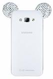 Samsung Galaxy A8 Taşlı Kulaklı Silver Silikon Kılıf
