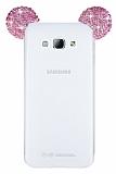 Samsung Galaxy A8 Taşlı Kulaklı Pembe Silikon Kılıf