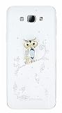 Samsung Galaxy A8 Taşlı Baykuş Şeffaf Silikon Kılıf