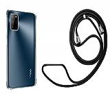 Oppo A72 Askılı Şeffaf Siyah Silikon Kılıf