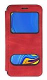 Samsung Galaxy A9 2018 Çift Pencereli Kapaklı Kırmızı Kılıf