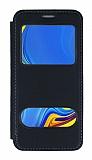 Samsung Galaxy A9 2018 Çift Pencereli Kapaklı Siyah Kılıf
