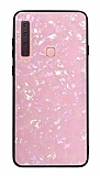 Samsung Galaxy A9 2018 Desenli Silikon Kenarlı Pembe Rubber Kılıf