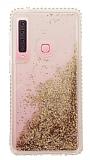 Samsung Galaxy A9 2018 Simli Sulu Gold Rubber Kılıf