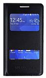 Samsung Galaxy Ace 4 �ift Pencereli �nce Yan Kapakl� Siyah K�l�f