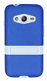 Samsung Galaxy Ace 4 Standlı Şeffaf Mavi Silikon Kılıf