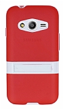 Samsung Galaxy Ace 4 Standlı Şeffaf Kırmızı Silikon Kılıf