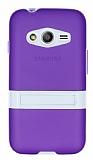 Samsung Galaxy Ace 4 Standlı Şeffaf Mor Silikon Kılıf