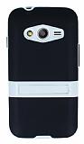 Samsung Galaxy Ace 4 Standlı Siyah Silikon Kılıf