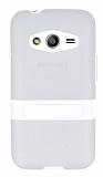 Samsung Galaxy Ace 4 Standlı Şeffaf Beyaz Silikon Kılıf