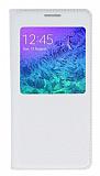 Samsung Galaxy Alpha Pencereli İnce Kapaklı Beyaz Kılıf