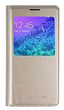 Samsung Galaxy Alpha Uyku Modlu Pencereli Gold Kılıf