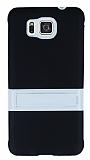 Samsung Galaxy Alpha Standlı Siyah Silikon Kılıf