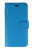 Samsung Galaxy C5 Cüzdanlı Kapaklı Mavi Deri Kılıf