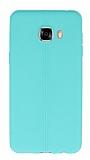 Samsung Galaxy C5 Deri Desenli Ultra İnce Yeşil Silikon Kılıf