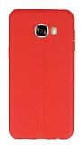 Samsung Galaxy C5 Deri Desenli Ultra İnce Kırmızı Silikon Kılıf
