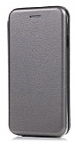 Samsung Galaxy C5 Pro Curve Manyetik Kapaklı Silver Deri Kılıf