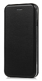 Samsung Galaxy C5 Pro Curve Manyetik Kapaklı Siyah Deri Kılıf