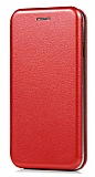 Samsung Galaxy C5 Pro Curve Manyetik Kapaklı Kırmızı Deri Kılıf