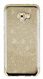 Samsung Galaxy C5 Pro Taşlı Kenarlı Simli Gold Silikon Kılıf