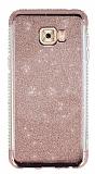 Samsung Galaxy C5 Pro Taşlı Kenarlı Simli Rose Gold Silikon Kılıf