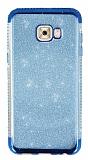 Samsung Galaxy C5 Pro Taşlı Kenarlı Simli Mavi Silikon Kılıf