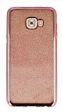 Samsung Galaxy C7 Pro Taşlı Kenarlı Simli Rose Gold Silikon Kılıf