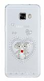 Samsung Galaxy C5 Taşlı Love Şeffaf Silikon Kılıf
