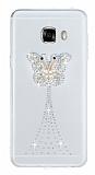 Samsung Galaxy C5 Taşlı Kelebek Şeffaf Silikon Kılıf