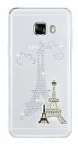 Samsung Galaxy C5 Taşlı Paris Şeffaf Silikon Kılıf