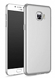 Samsung Galaxy C5 Tam Kenar Koruma Silver Rubber Kılıf