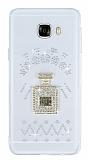 Samsung Galaxy C5 Taşlı Parfüm Şeffaf Silikon Kılıf