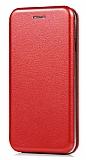Huawei P20 Curve Manyetik Kapaklı Kırmızı Deri Kılıf