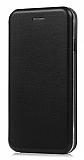 Samsung Galaxy C7 Pro Curve Manyetik Kapaklı Siyah Deri Kılıf
