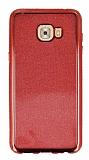 Samsung Galaxy C7 Pro Taşlı Kenarlı Simli Kırmızı Silikon Kılıf