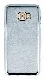 Samsung Galaxy C7 Pro Taşlı Kenarlı Simli Silver Silikon Kılıf