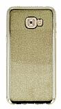 Samsung Galaxy C7 Pro Taşlı Kenarlı Simli Gold Silikon Kılıf