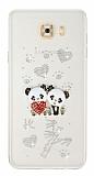 Samsung Galaxy C7 Pro Taşlı Panda Şeffaf Silikon Kılıf