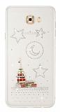 Samsung Galaxy C7 Pro Taşlı Kız Kulesi Şeffaf Silikon Kılıf