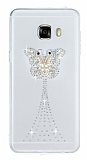 Samsung Galaxy C7 SM-C7000 Taşlı Kelebek Şeffaf Silikon Kılıf