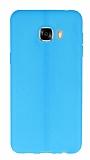 Samsung Galaxy C7 SM-C7000 Deri Desenli Ultra İnce Mavi Silikon Kılıf