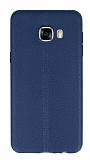 Samsung Galaxy C7 SM-C7000 Deri Desenli Ultra İnce Lacivert Silikon Kılıf