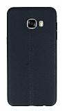 Samsung Galaxy C7 SM-C7000 Deri Desenli Ultra İnce Siyah Silikon Kılıf