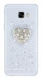 Samsung Galaxy C7 SM-C7000 Taşlı Kalp Şeffaf Silikon Kılıf