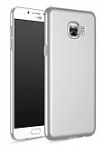 Samsung Galaxy C7 SM-C7000 Tam Kenar Koruma Silver Rubber Kılıf