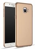 Samsung Galaxy C7 SM-C7000 Tam Kenar Koruma Gold Rubber Kılıf