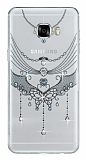 Samsung Galaxy C7 SM-C7000 Pembe Taşlı Kelebek Şeffaf Silikon Kılıf