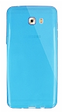 Dafoni Aircraft Samsung Galaxy C9 Pro Ultra İnce Şeffaf Mavi Silikon Kılıf