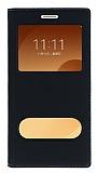 Samsung Galaxy C9 Pro Gizli Mıknatıslı Çerçeveli Siyah Deri Kılıf