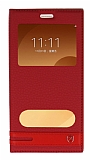 Samsung Galaxy C9 Pro Gizli Mıknatıslı Pencereli Kırmızı Deri Kılıf